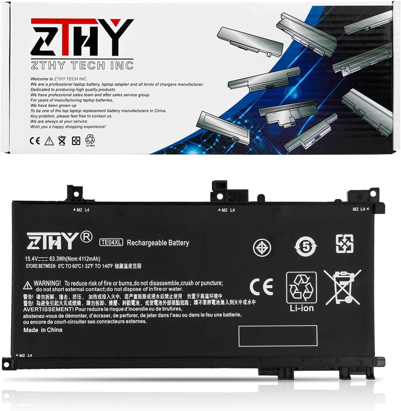 ZTHY 63.3Wh TE04XL Laptop Battery Compatible with HP Owmen 15-ax200 ax250wm ax210nr ax243dx ax256nr ax252nr 15-AX243DX Pavilion 15-bc200 bc204nf 15t-bc200 X7P44AV 905175-271 905277-855 15.4V