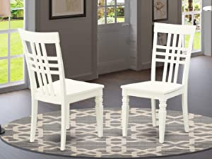 East West Furniture Logan kitchen chairs - Wooden Seat and Linen White Hardwood Frame dining room chair set of 2