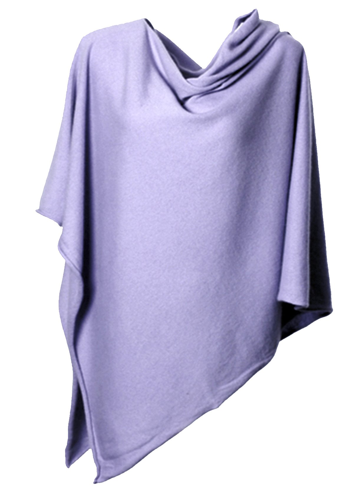 Anna Kristine Pure Cashmere Asymmetrical Draped Poncho - Lavender