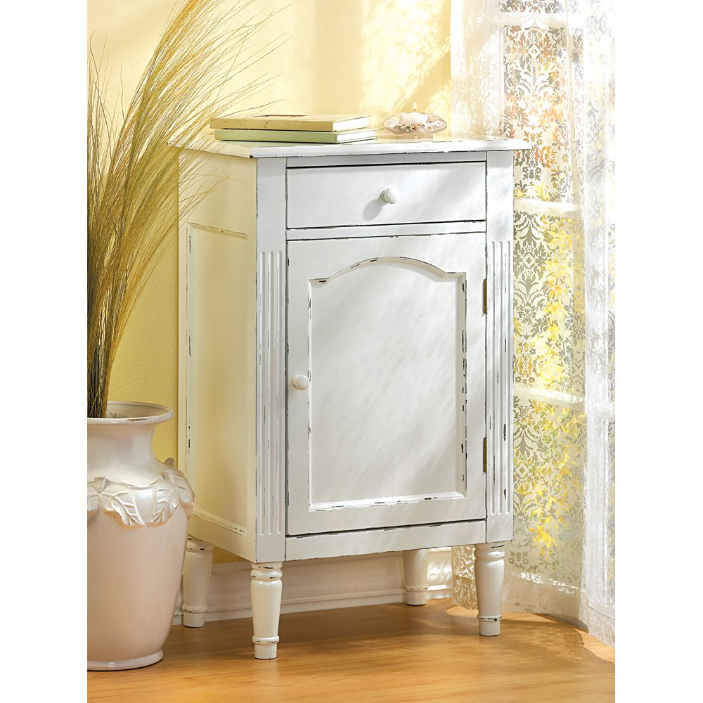 Amazon.com Antiqued Distress White Finish Cabinet Table Nightstand Kitchen u0026 Dining  sc 1 st  Amazon.com & Amazon.com: Antiqued Distress White Finish Cabinet Table Nightstand ...