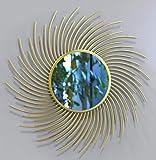 Furnish Craft Sun Burst Curly Golden Wall Mirror for Living Room