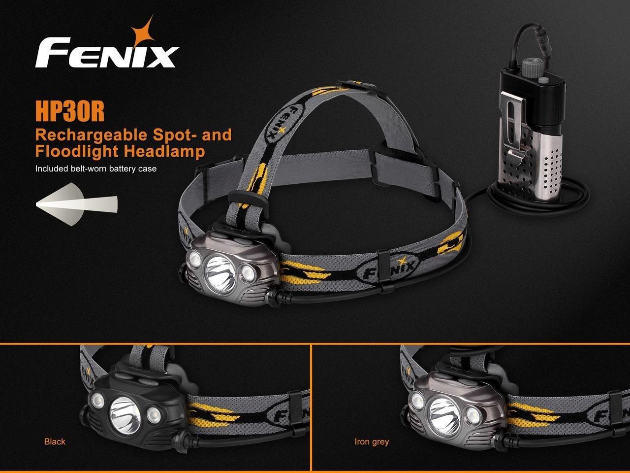 Fenix HP30R 1750 Lumen CREE LED Headlamp (Iron Grey) with 2 X Fenix 18650 Li-ion rechargeable batteries and Four EdisonBright CR123A Lithium batteries bundle by Fenix (Image #3)