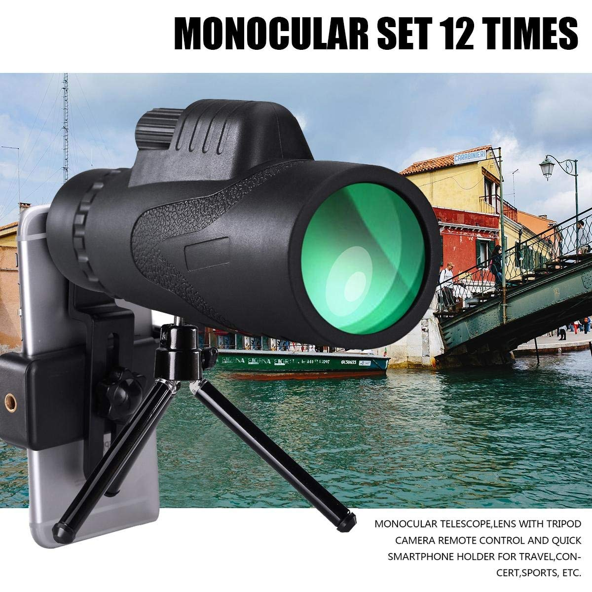 Waterproof Monocular Scope 16x50 High Powered Telescope Bak4 Prism With Tripod