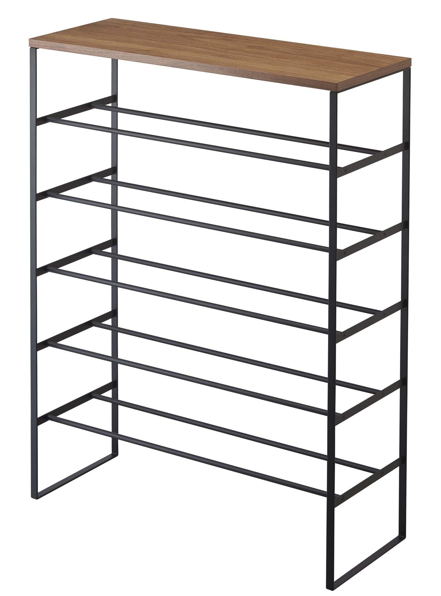 Modern Large Metal Tower Shoe Rack, Free Standing, Six Storage Shelves, Wooden Top Shelf, Black, 34-inch