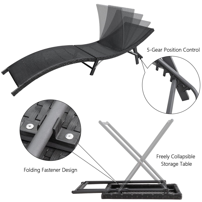 Devoko Patio Chaise Lounge Sets Outdoor Rattan Adjustable Back 3 Pieces Cushioned Patio Folding Chaise Lounge with Folding Table (Beige Cushion) by Devoko (Image #4)