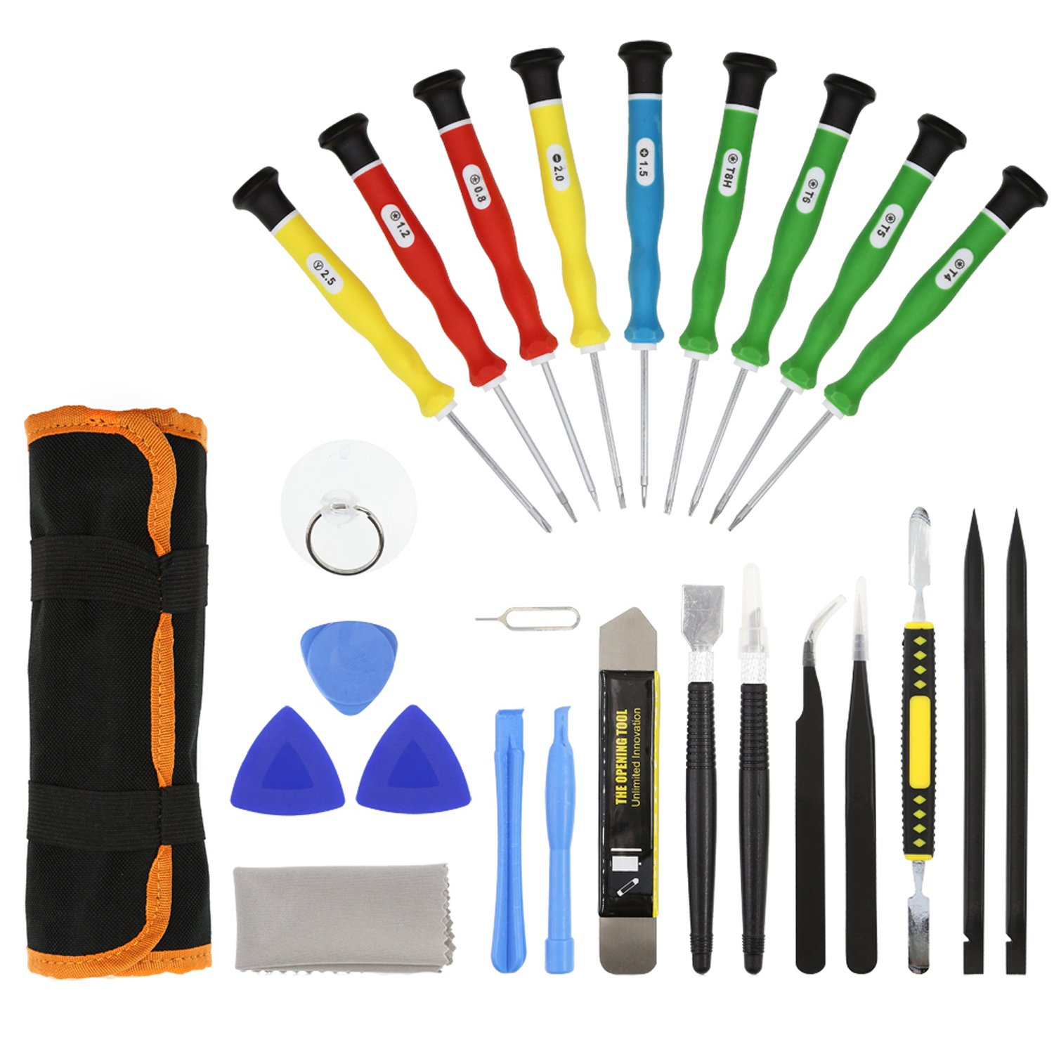E.Durable Repair Tools Screwdrivers Kit for iPhone iPad iPod Other Cell Phones and Devices –DIY Tool (25in Repair Kit)