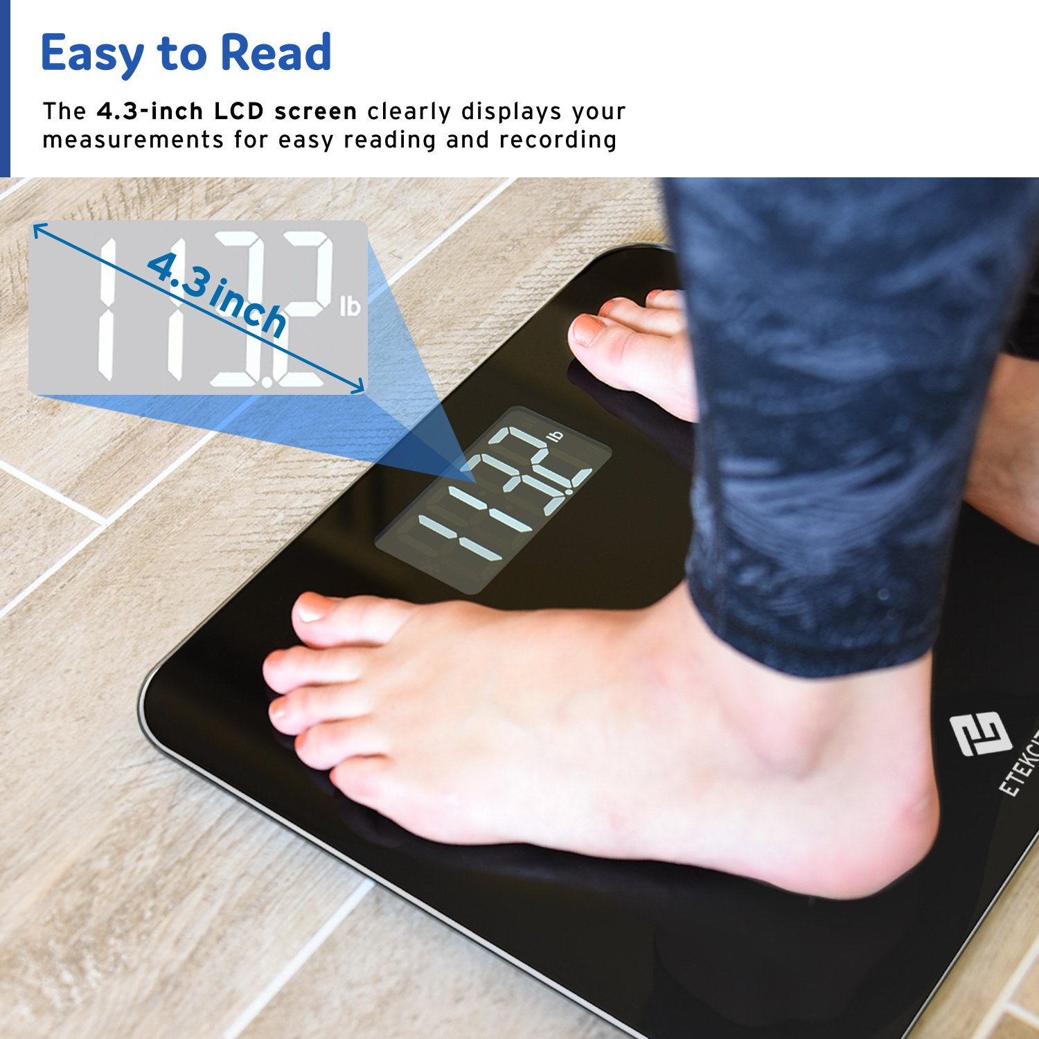 Etekcity Digital Body Weight Bathroom Scale with Step-On Technology, 440 Pounds, Body Tape Measure Included (Black) EB441OB by Etekcity (Image #2)