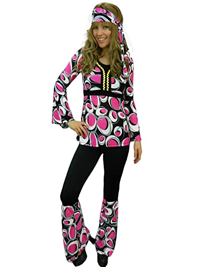 1a9f16196f4 Yummy Bee Hippy Plus Size 6-18 Fancy Dress Costume 60s 70s Ladies Flower  Power Hippie Adult Gogo Disco (Pink