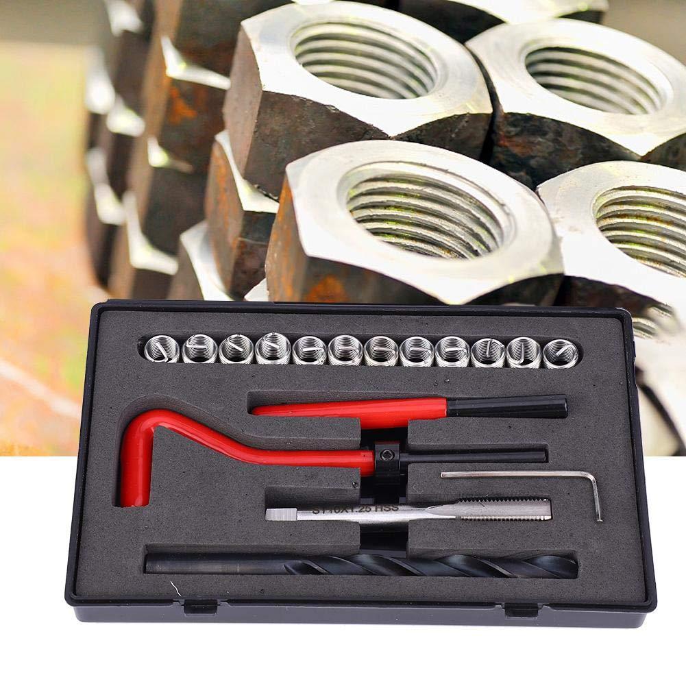 Zoll-mm-Einheiten 17-tlg Gewindereparatursatz gedrehter 2D-Edelstahl-Bohrgewindebohrerschl/üssel mit Gewinde L/änge M10x1,25 Umr/üstsatz f/ür Helicoil-Reparaturs/ätze