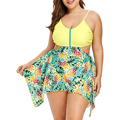 6eab668cf0 CharMma Women's Plus Size Pineapple Print Cut Out Asymmetrical Hem Tankini  Set (Yellow, ...