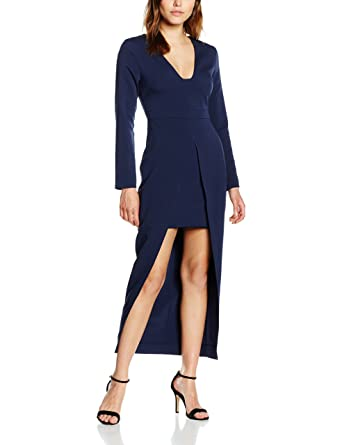 Clearance Best Place Outlet Sale Womens Navy Plunge Maxi Overlay Mini Dress Long Sleeve Dress Lavish Alice Clearance Pictures Discount Wholesale bt74GUN4