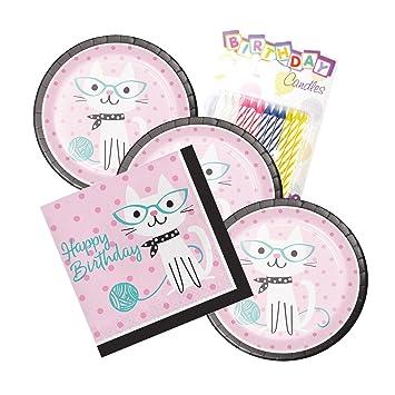 Platos y servilletas para fiesta de gato, diseño de gatito ...