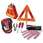 """Mikels KEA-8 Kit de Emergencia Automotriz, Cables Pasacorriente C-240-10 Triángulo Reflejante 10"""", Pinza de Mecánico, 2..."""