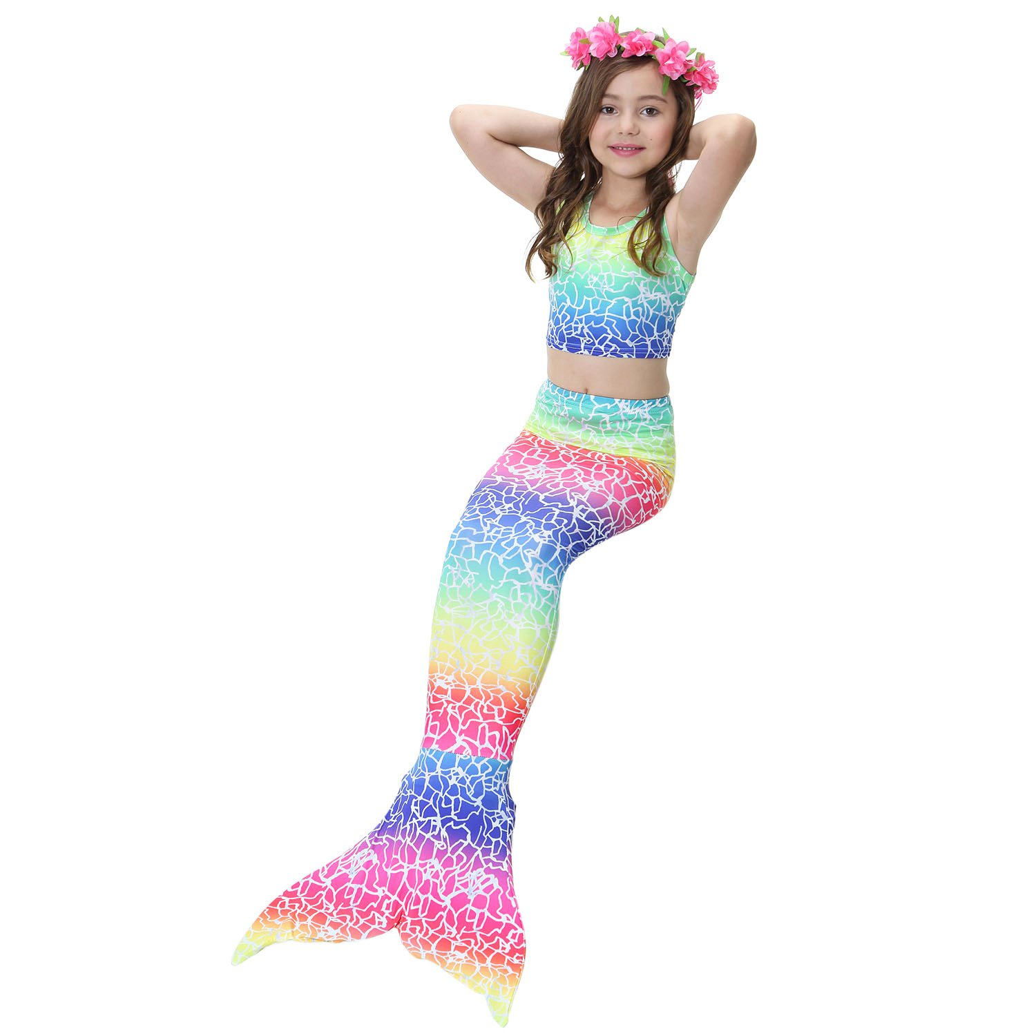 AUIE SAOSA Girl mermaid tail for swimming and fins swimwear cover up sets 4PC