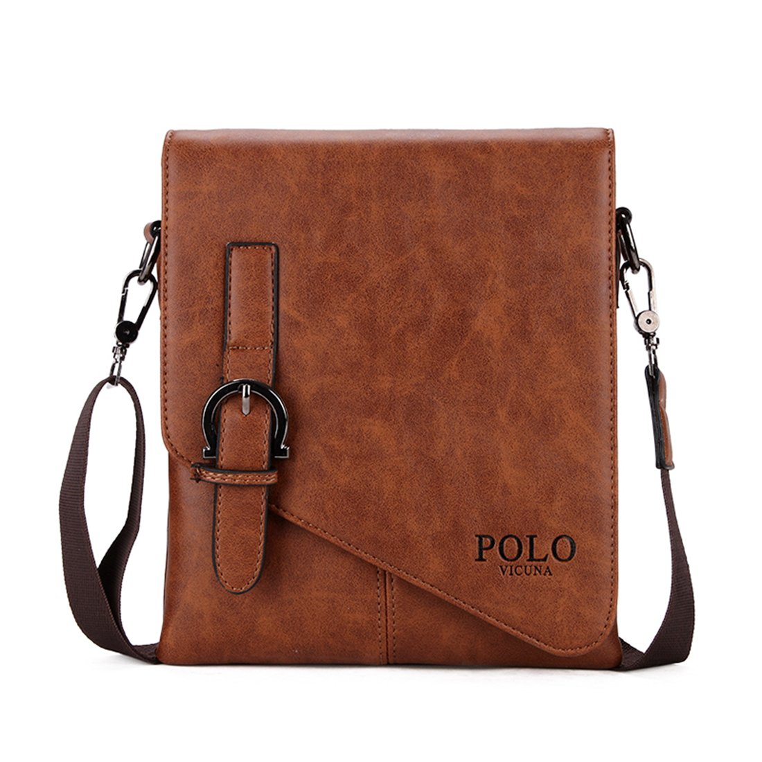 VICUNA POLO Unique Buckle Design Mens Messenger Bag Business Men Shoulder Bag (khaki)