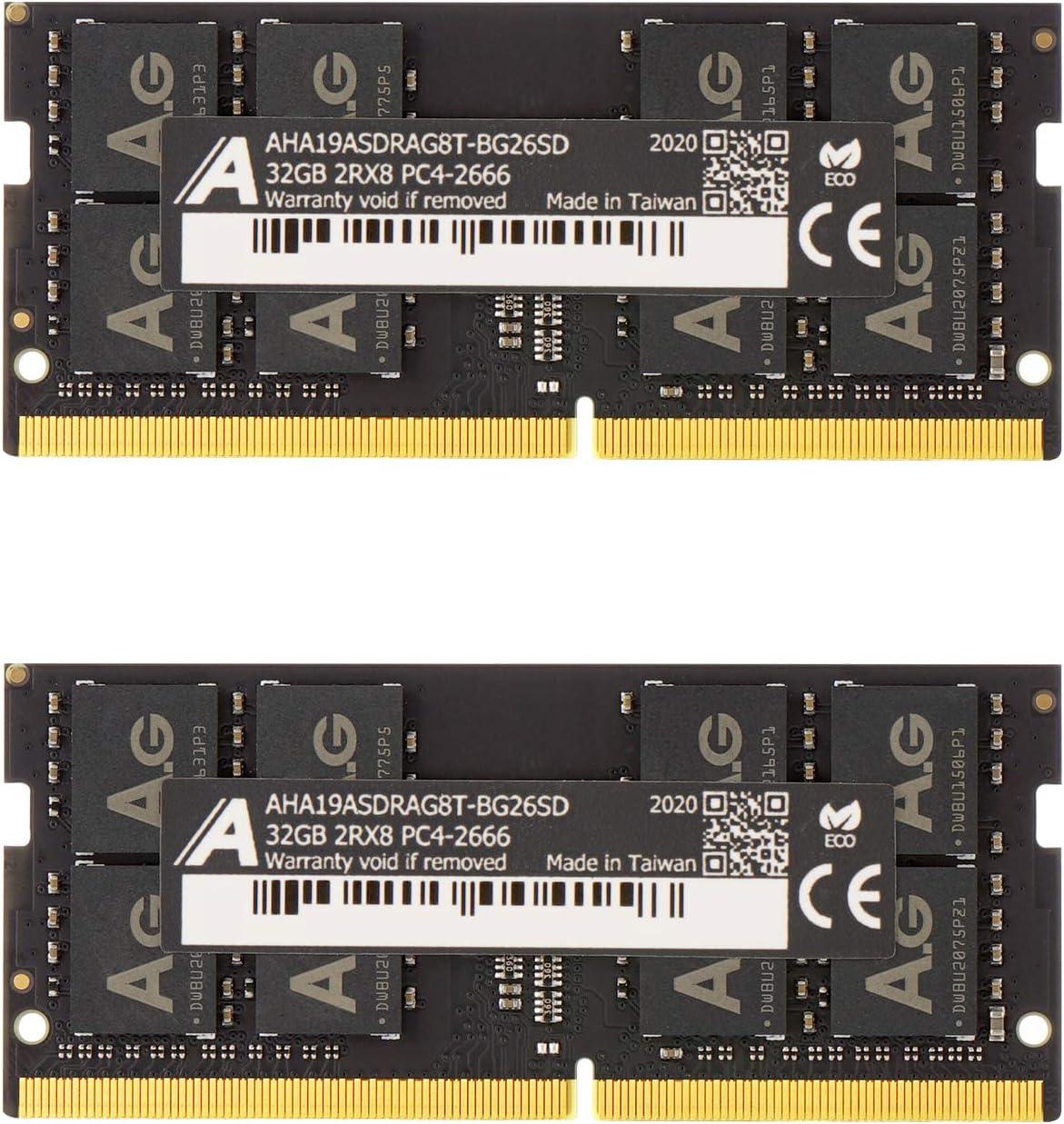 "Astra Gear 64GB (2 x32GB) Upgrade for 2020 Apple iMac 27"" w/Retina 5K Display & 2019 Apple iMac 27-inch w/Retina 5K Display DDR4 Non ECC 2666MHz (PC4-21300) CL19 1.2V SO-DIMM (AHA19ASDRAG8T-BG26SD)"