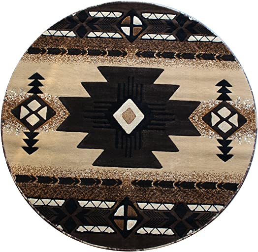 South West Round Area Rug 6 Ft. 7 In. X 6 Ft. 7 In. Berber C318