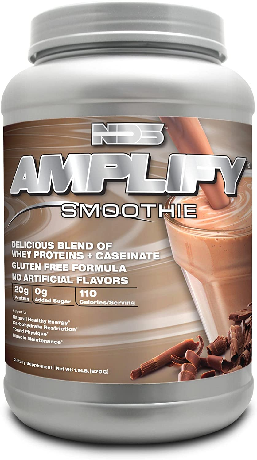 NDS Nutrition Amplify Protein Smoothie with Added Greens for Overall Health – Whey Protein and Naturally Occurring Amino Acids – Build Lean Muscle, More Strength, Lose Fat – Chocolate – 30 Servings