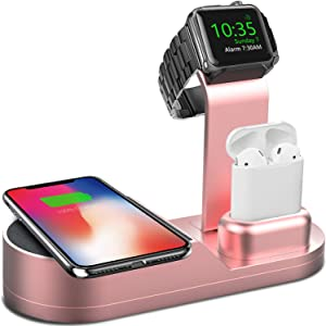 Deszon Wireless Charger Designed for Apple Watch Stand Compatible with iWatch Series SE 6 5 4 3 2 1, AirPods Pro Airpods and iPhone SE 11 11 pro 11 Pro Max Xs X Max XR X 8 8P(No Adapter) Rose Gold