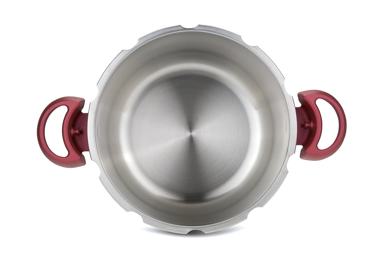 Tefal Clipso Minut Perfect - Olla a Presión de 7.5L de Acero Inoxidable Roja con 5 sistemas de seguridad y cierre fácil con una sola mano con cestillo ...