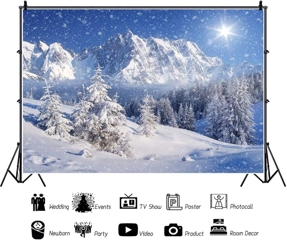 Night Letter Size Clipboard,Snow Covered Mountain Peaks Winter Trees Scenic Landscape with Moon Sky Customized Cute Hardboard Office Clipboard with Low Profile Clip for Letter Size Paper