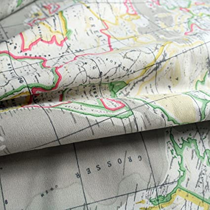 World Map Print Fabric.Amazon Com Linen Cotton World Map Fabric Print By The Yard 59 Inches