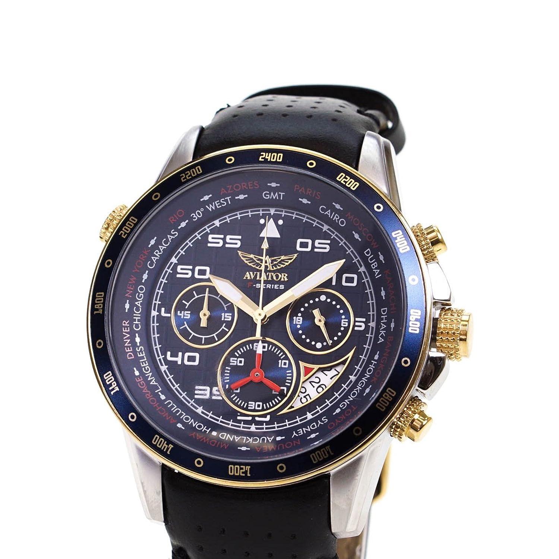 AVIATOR Herren Uhr watch Armbanduhr Chronograph AVW7770G262 Leder schwarz