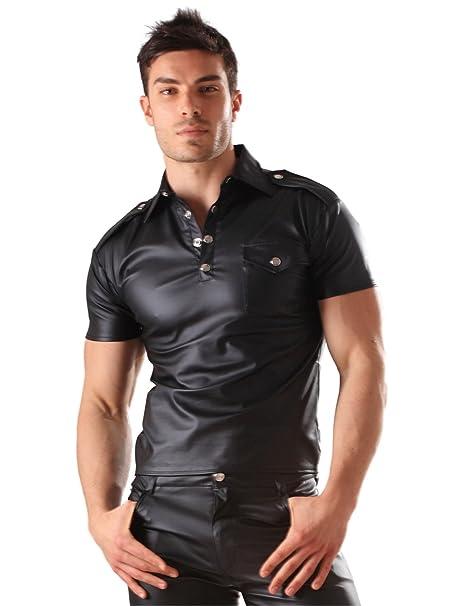 molte scelte di vari tipi di ultima moda Honour Men's Polo Shirt Top in Leather Look Kinky Military Style Costume