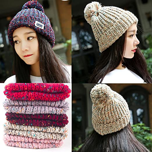 550ad94dbe1 Amazon.com   Warm Beanie Hat Skully Cap Ski Snow Hat Winter Knit Hats for  Girls