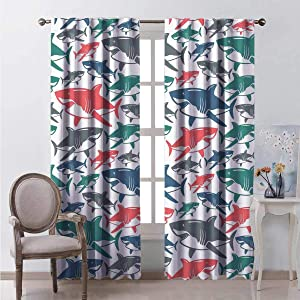 HELLOLEON Shark Heat Insulation Curtain Mix of Colorful Bull Shark Family Pattern Masters Survival Predators Dangerous Nature for Living Room or Bedroom W72 x L108 Inch Multicolor