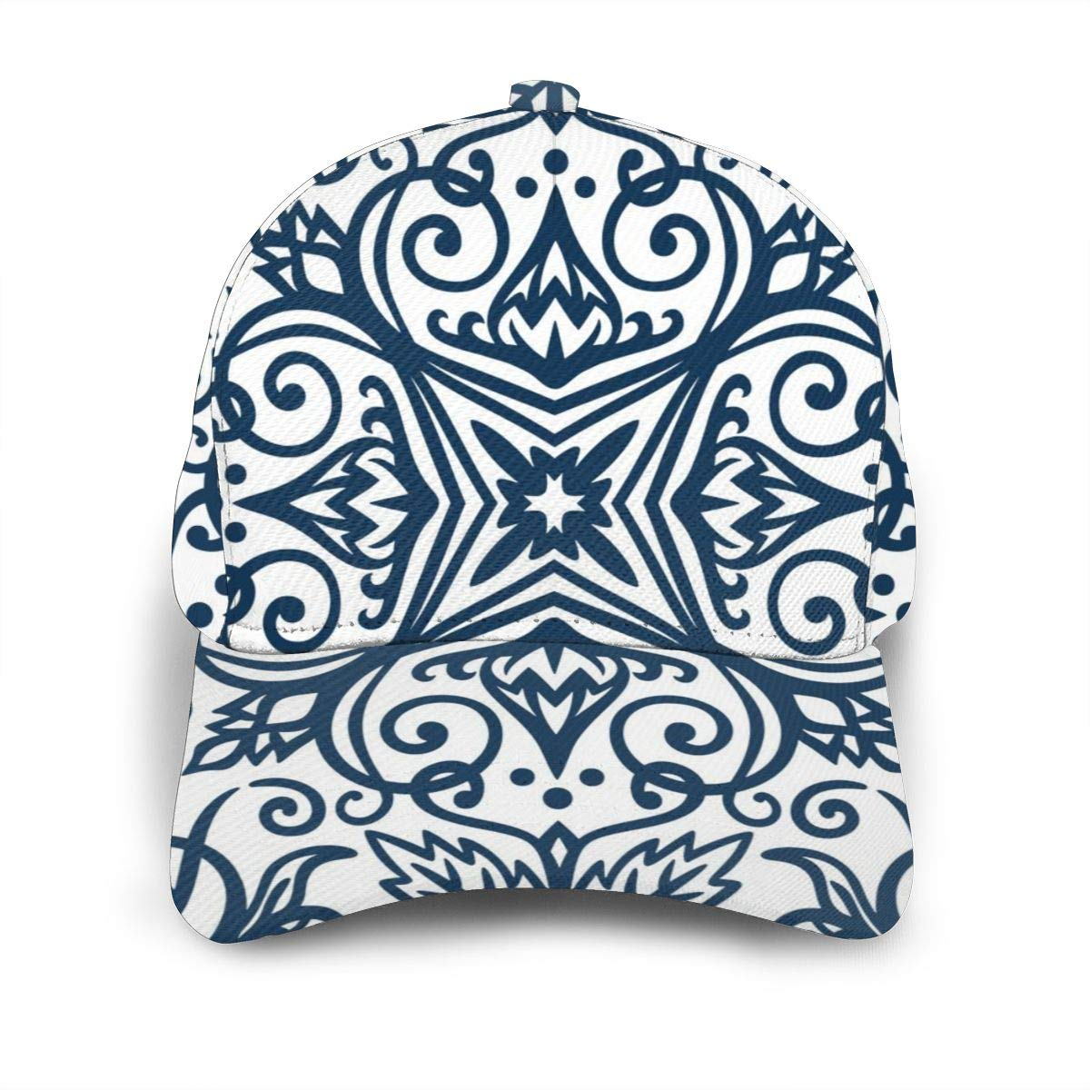 Blue Arabesque Baseball Cap Adjustable Washed Cotton Dad Hat Hats