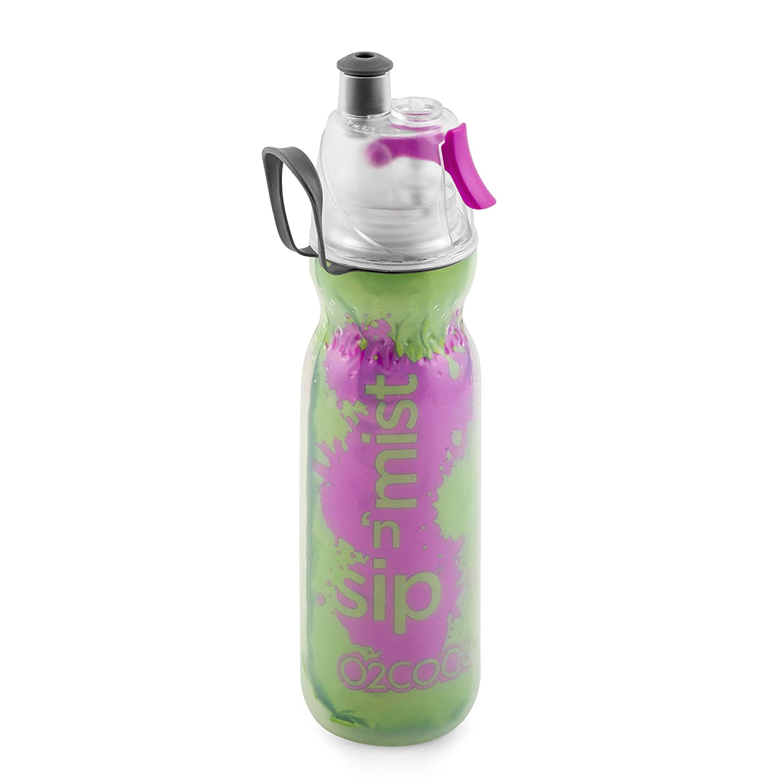 New O2Cool Double Wall Mist /'N Sip Water Bottle Green with Purple Splash
