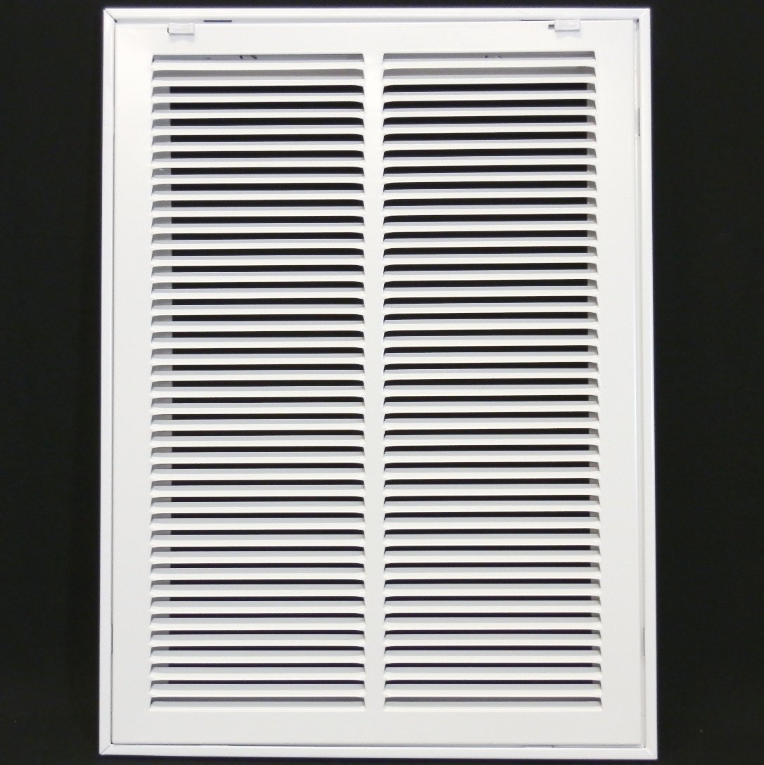 """14"""" X 20 Steel Return Air Filter Grille for 1"""" Filter - Removable Face/Door - HVAC Duct Cover - Flat Stamped Face - White [Outer Dimensions: 16.5 X 21.75]"""
