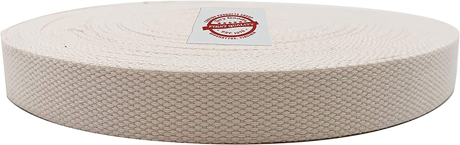 Canvas Products Group Natural Cotton Webbing All Natural, No Harmful Dyes, Easy to Use - Perfect for Crafting Belts, Handbags, Tote Straps, Furniture Trim, Dog Collars - 1 Inch X 25 Yards