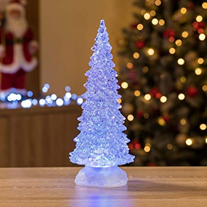 Christmas Tree Water.Glitter Filled Water Spinner Acrylic Christmas Tree Colour Changing Led Battery Powered Decoration 27cm X W8 5cm