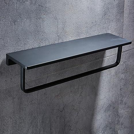 wbxyzyc estantería de baño Negro con la Bandeja de la Barra de Espacio Europeo de Aluminio