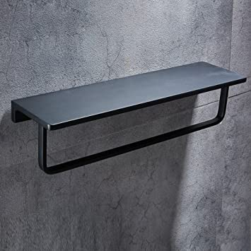 wbxyzyc Badezimmer Regal schwarz mit Bar Fach Raum Aluminium ...