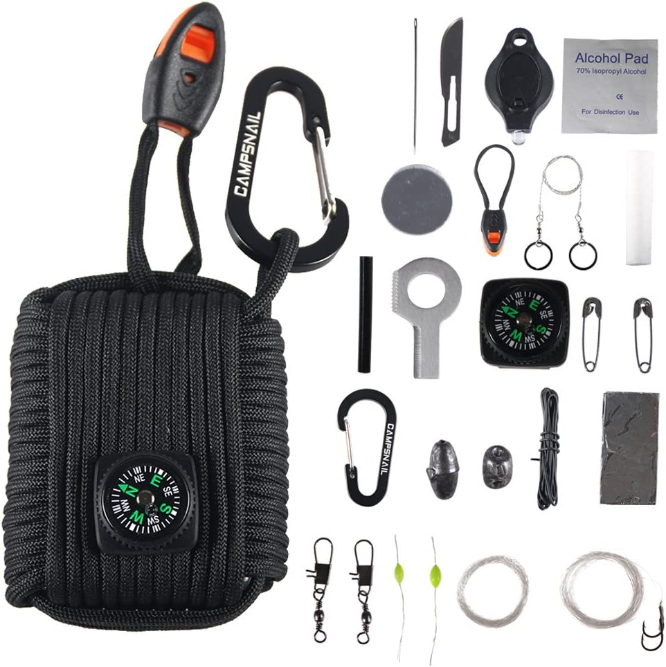 Outdoor Grenade Survival Kit with Carabiner For SOS Emergency Camping Best