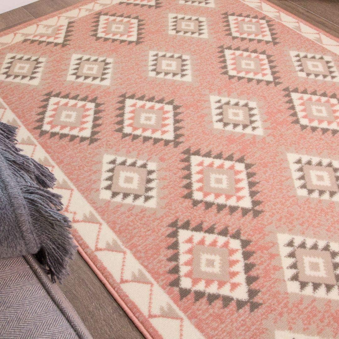 Blush Pink Moroccan Diamond Kids Rug Grey Cream Aztec Boho Childrens Graphite Small Nursery Living Room Rug