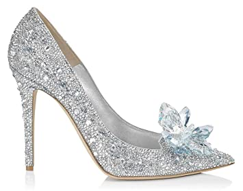 43401e62419 HYLM Hot Cinderella Crystal Shoes Butterfly Flower Silver Diamond Pointed  High Heels Fine With Wedding Shoes Banquet Shoes
