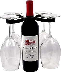 Mango Steam Easy Slip on Wine Glass Holder Black