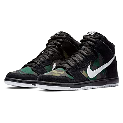 timeless design 0fbda b5f3f Amazon.com | Nike SB Dunk High Pro 'Black/White-Iguana' Camo ...