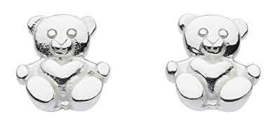 Dew Sterling Silver Teddy Bear Stud Earrings 4866HP lNY3dLJu