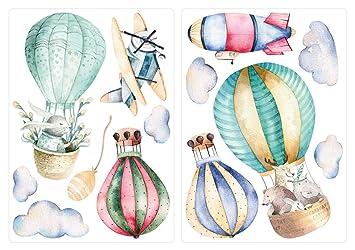 Wandtattoo Kinderzimmer Deko Aquarell Wandtattoo Heissluftballon