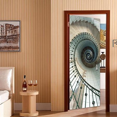 Rocwart 3D Puerta Mural de Vinilo para Sala de Estar niños bebé Niños Escalera de Caracol de Vinilo extraíble Papel Pintado Arte Decoración del hogar 30,3 x 78.7