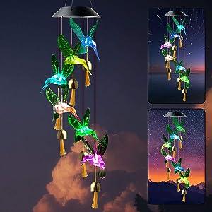 zhengshizuo Hummingbird Wind Chimes Mom Birthday Gift Party Night String Light Outdoor Indoor Garden Decor Hummingbird Gifts Solar Door Bells