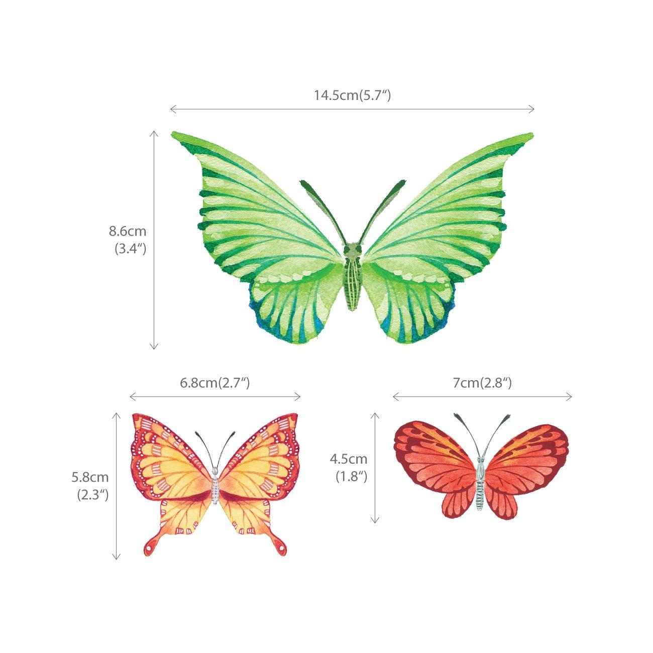 DECOWALL DS-8022 Papillons Aquarelles Autocollants Muraux Mural Stickers Chambre Enfants B/éb/é Garderie Salon Petit
