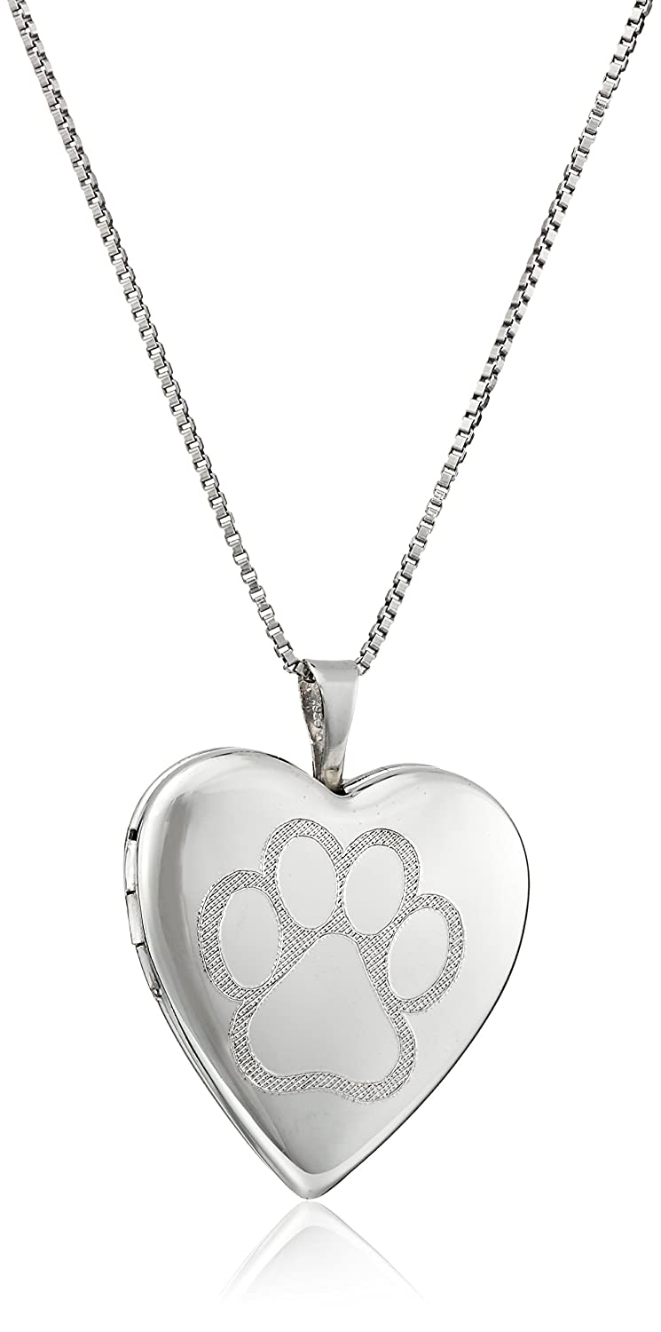 Sterling Silver Engraved Paw Heart Locket Necklace, 18 18 Amazon Collection SRL0570.0