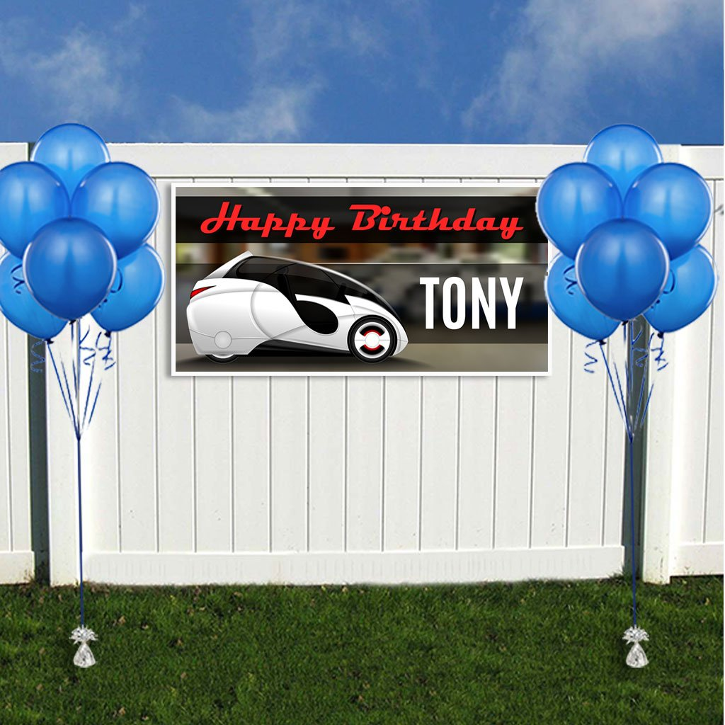 Electric Car Birthday Banner Personalized Party Backdrop Decoration