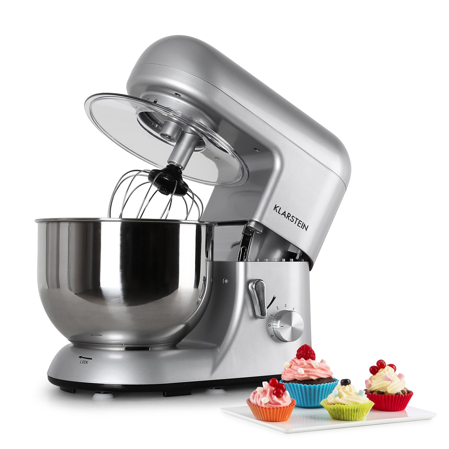 KLARSTEIN Bella Argentea • Tilt-Head Stand Mixer • Dough Hook, Flat Beater, Wire Whip • 650 W • 5.5 qt Stainless Steel Bowl • Planetary Mixing • 6 Speeds • Silver